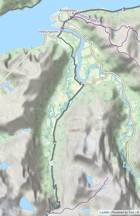 Afslag naar Trollstigen kaart