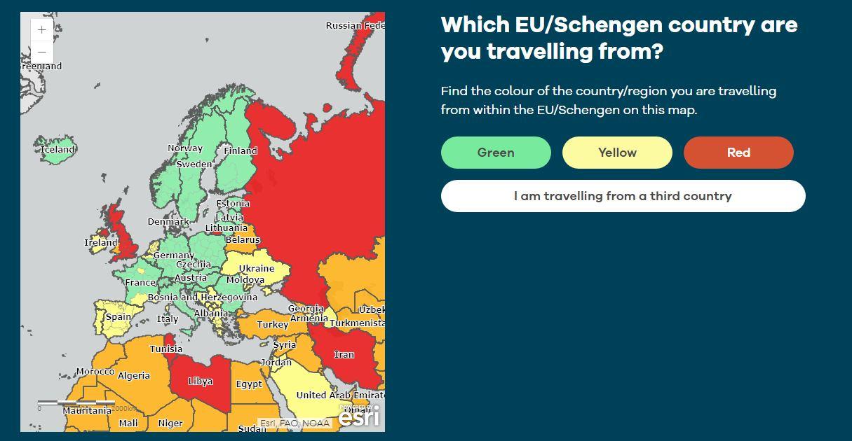 Covid Europa kaart toegang Denemarken
