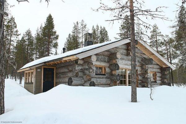 silver log cabin Finland