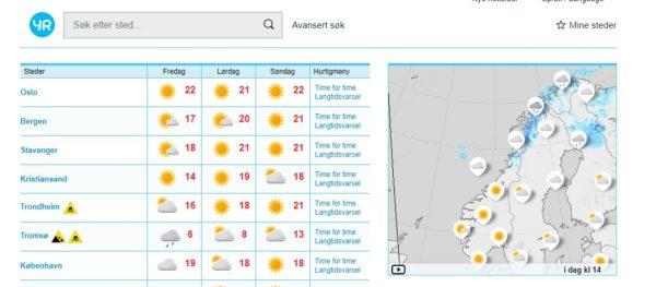 Kaart weer Noorwegen YR