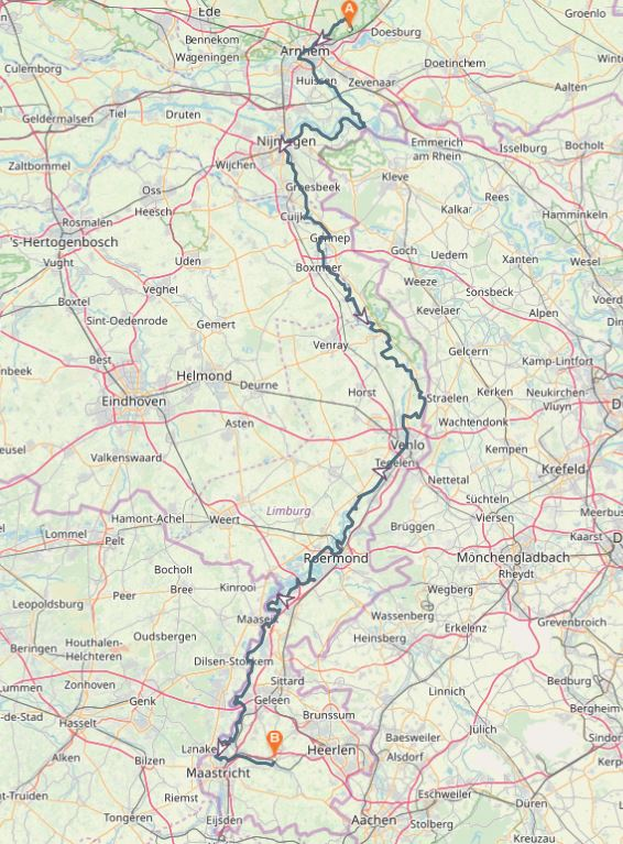 Kaart Veluwe naar Valkenburg