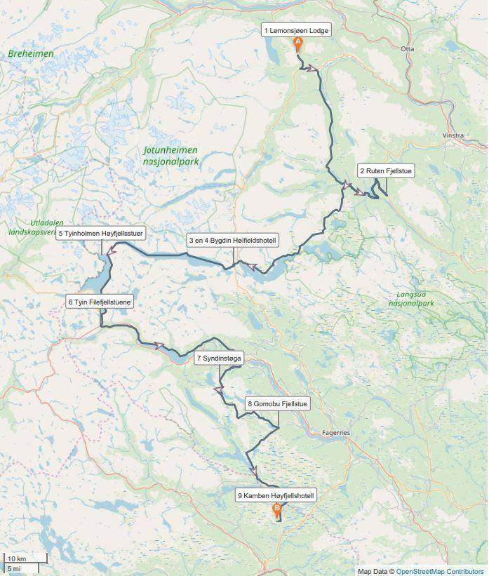 Kaart Jotunheimen